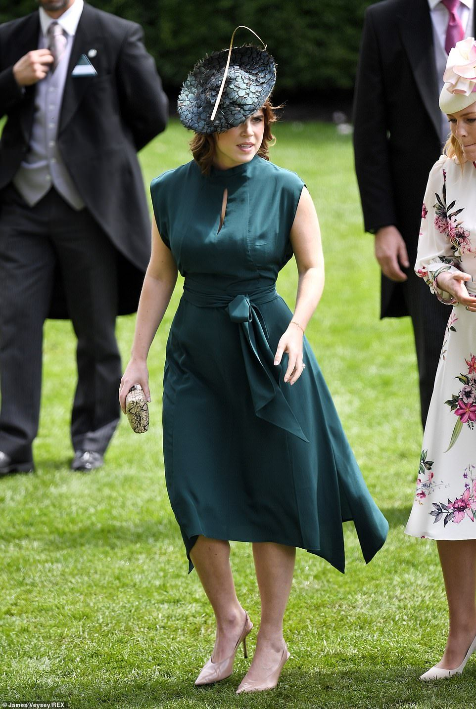 80142658 Pretty Princess Eugenie accessorised her silk forest gown with a snakeskin  clutch bag and nude slingback heels