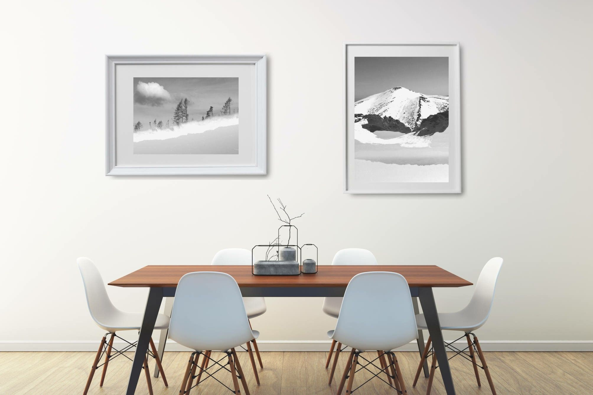Minimalist Dining Room With Black And White Natureinspired Wall Mesmerizing Wall Art For A Dining Room 2018