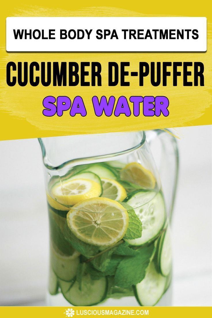 Cucumber De-Puffer Spa Water #beautifulbackyards Get rid of extra water weight while staying hydrated with this deliciously quenching spa water. Cucumber and lemon are natural diuretics that aid digestion and appetite control. The ginger and spearmint help relieve bloating and will also benefit the digestive system... #homeremedies #homemadeproducts #homemade #herbs #flowers #garden #backyard #health #herbal #infusedoils #skincare #beauty #homeskincare #homebeauty #homespa #SpaWater #wholebodysp