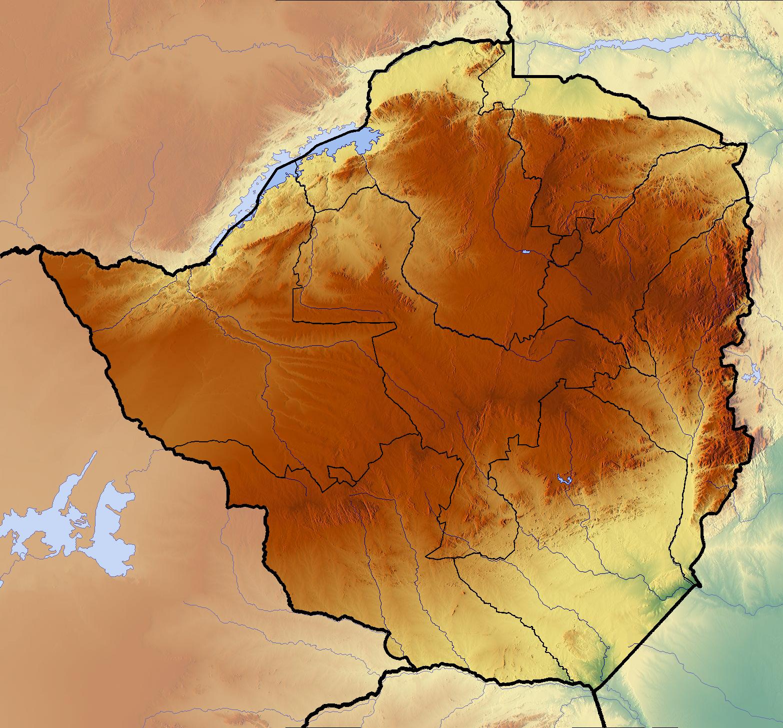 Zimbabwe Topographic Map MAPS Pinterest Topographic map