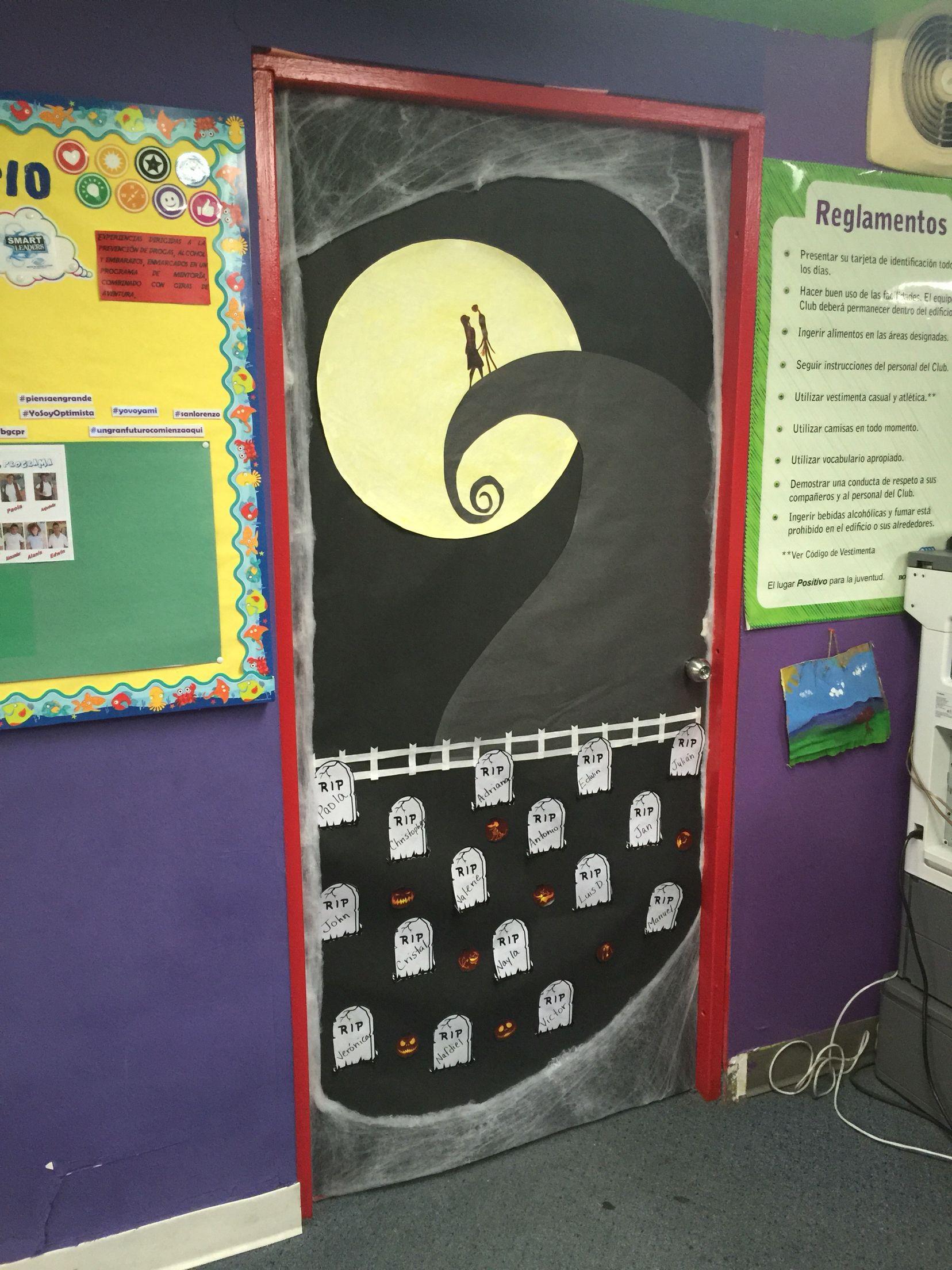 Halloween classroom door decorations - My Nightmare Before Christmas Door For Halloween