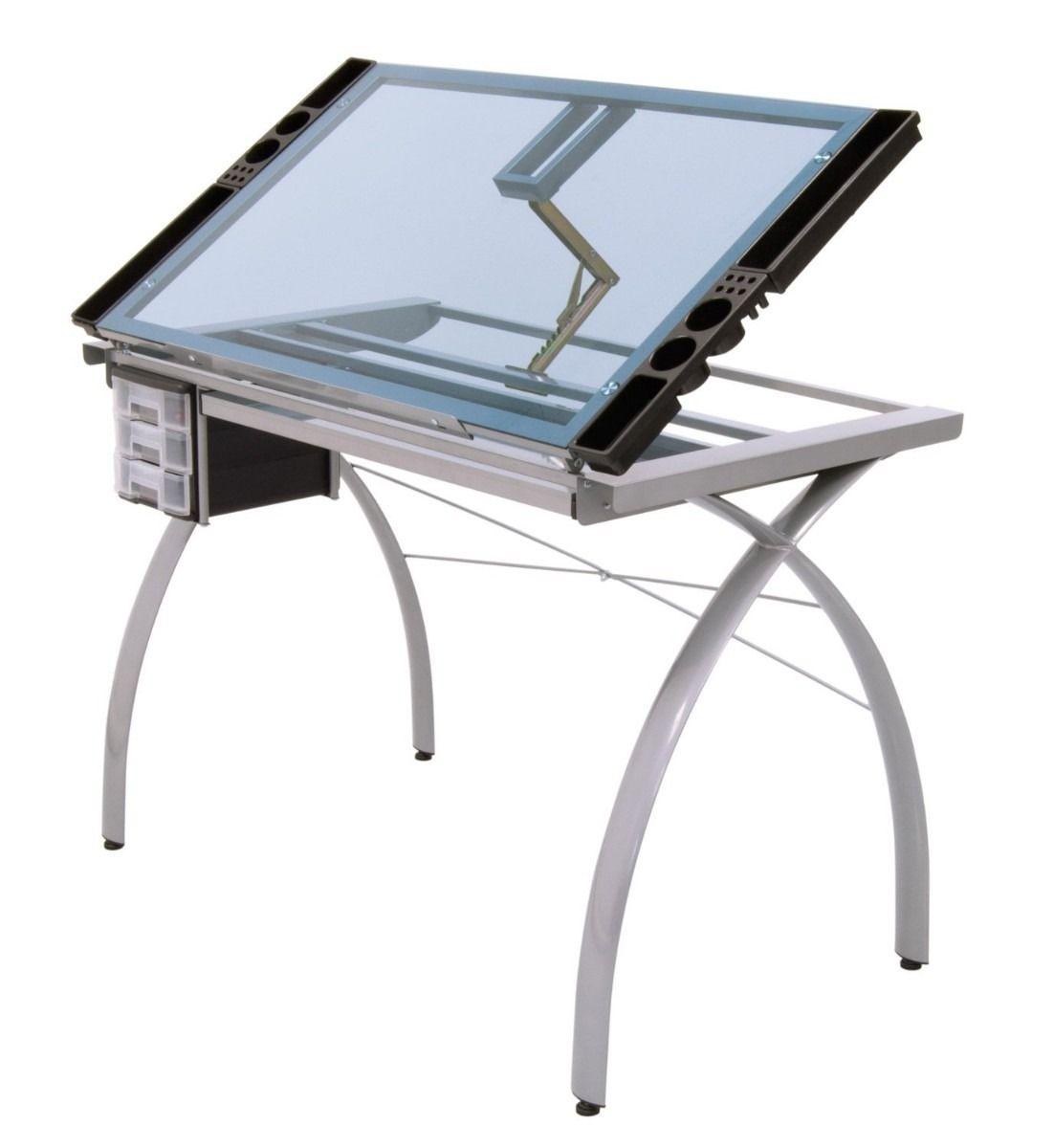 Mesa para dibujo art stico de cristal escritorio dibujar for Tableros para escritorios