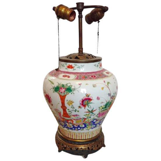 19th Century Famille Rose Porcelain Ginger Jar Lamp Products