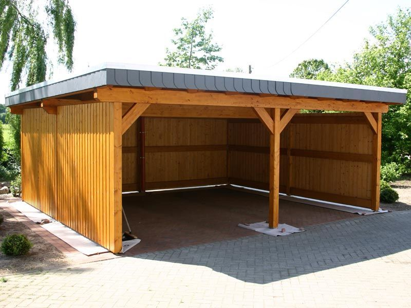 Slant roof with enclosed sides carport pinterest for Diy 3 car garage
