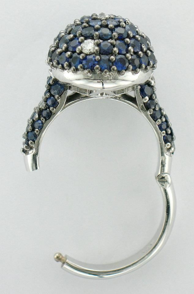 Sapphire And Diamond Ring Designed For A Client With Small Fingers