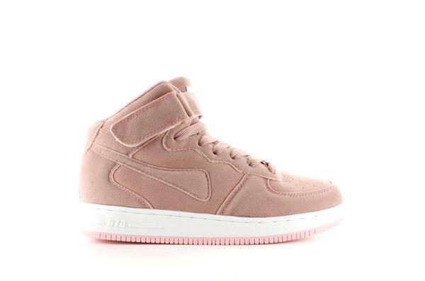 Zamszowe Buty Sportowe Za Kostke B777 Pink Rozowe Wedge Sneaker Shoes Sneakers
