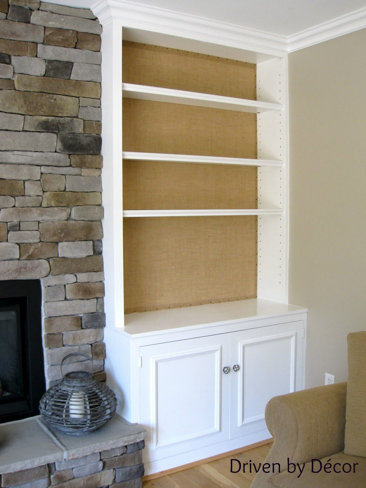 DIY Project Burlap Backed Bookcases Driven by decor