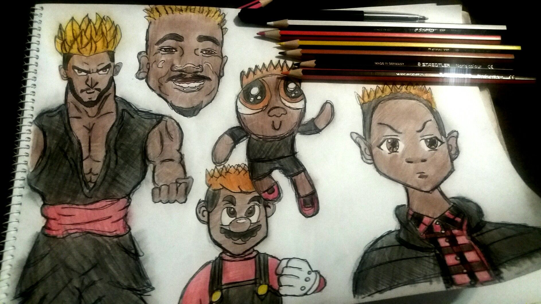 Drawing style challenge of myself dbz style super mario style boondocks style and powerpuff girls style