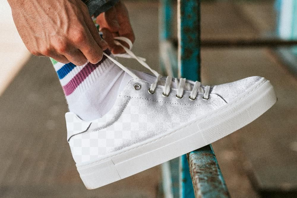 Download Download Premium Png Of Man Fixing Shoelaces On Png Sneaker Mockup 2645629 Shoe Laces Clothing Mockup White Sneaker