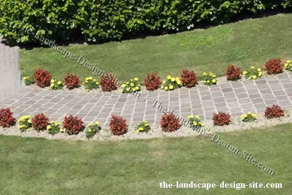 Borders for small flower gardens flower lined garden for Plants for walkway landscaping ideas