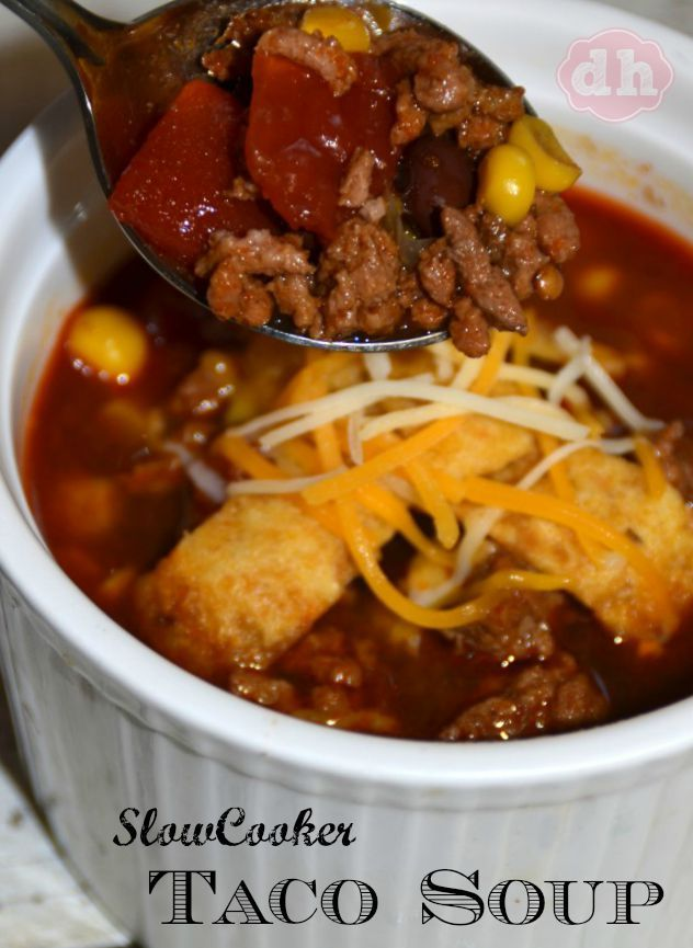Slow Cooker Taco Soup #tacosoup