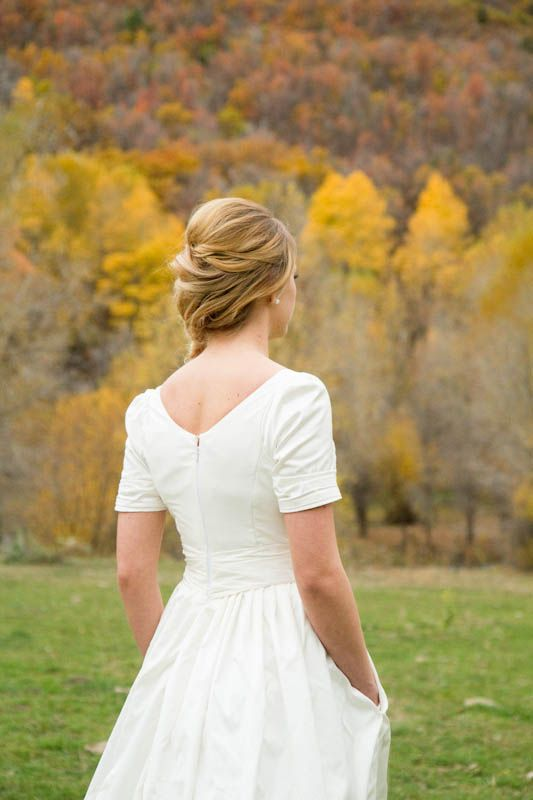Modest wedding dress with sleeves and pockets