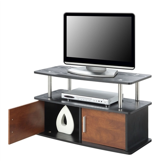 Modern 35 Inch Tv Stand In Brown Cherry Wood Grain Finish Cherry Wood Furniture Tv Stand Cherry Wood 35 inch tall tv stand