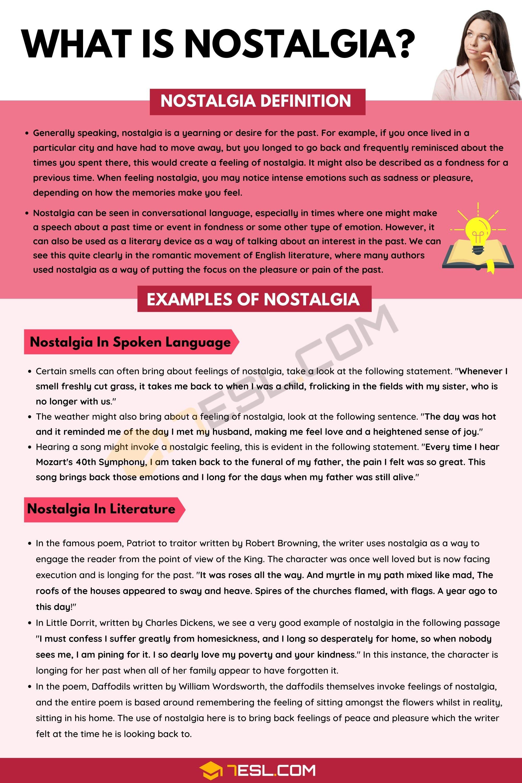 Nostalgia Definition Examples Of Nostalgia In Spoken Language And Literature 7esl Essay Writing Skills English Writing Skills Writing Skills