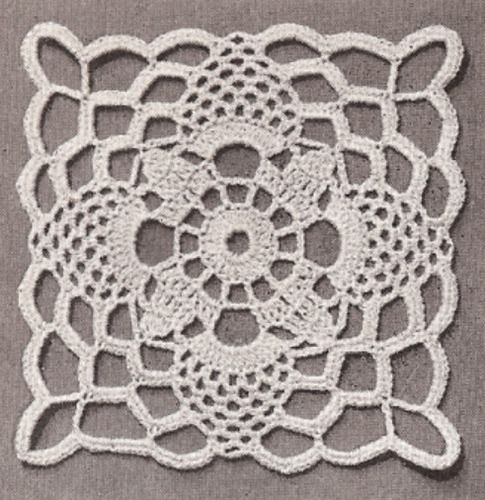 Vintage Crochet Motif Block Tablecloth Bedspread Pattern