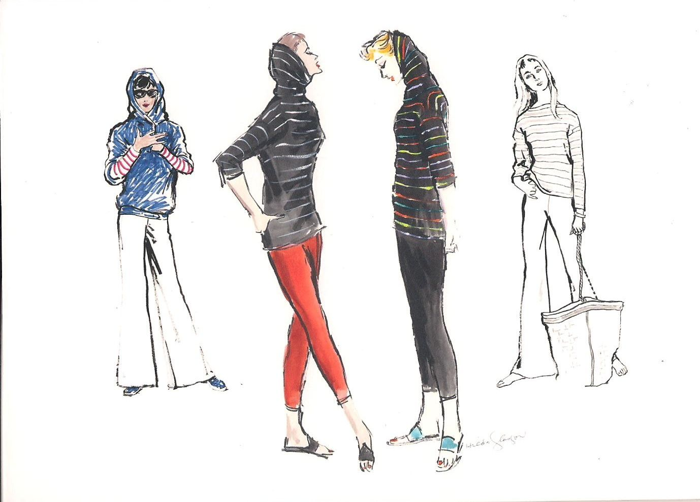 Vintage original fashion illustrations from The White Cabinet