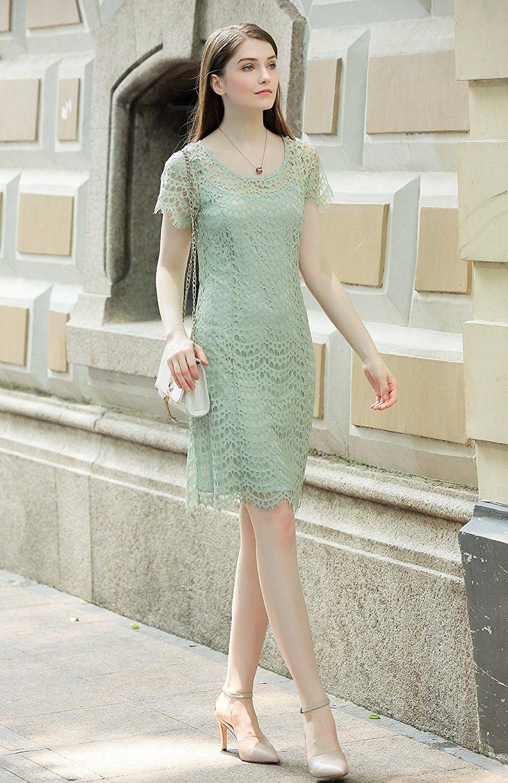 badab9a3ea UP Ultrapink Missy Womens Designer Allover Lace Shift Dress Short Sleeve