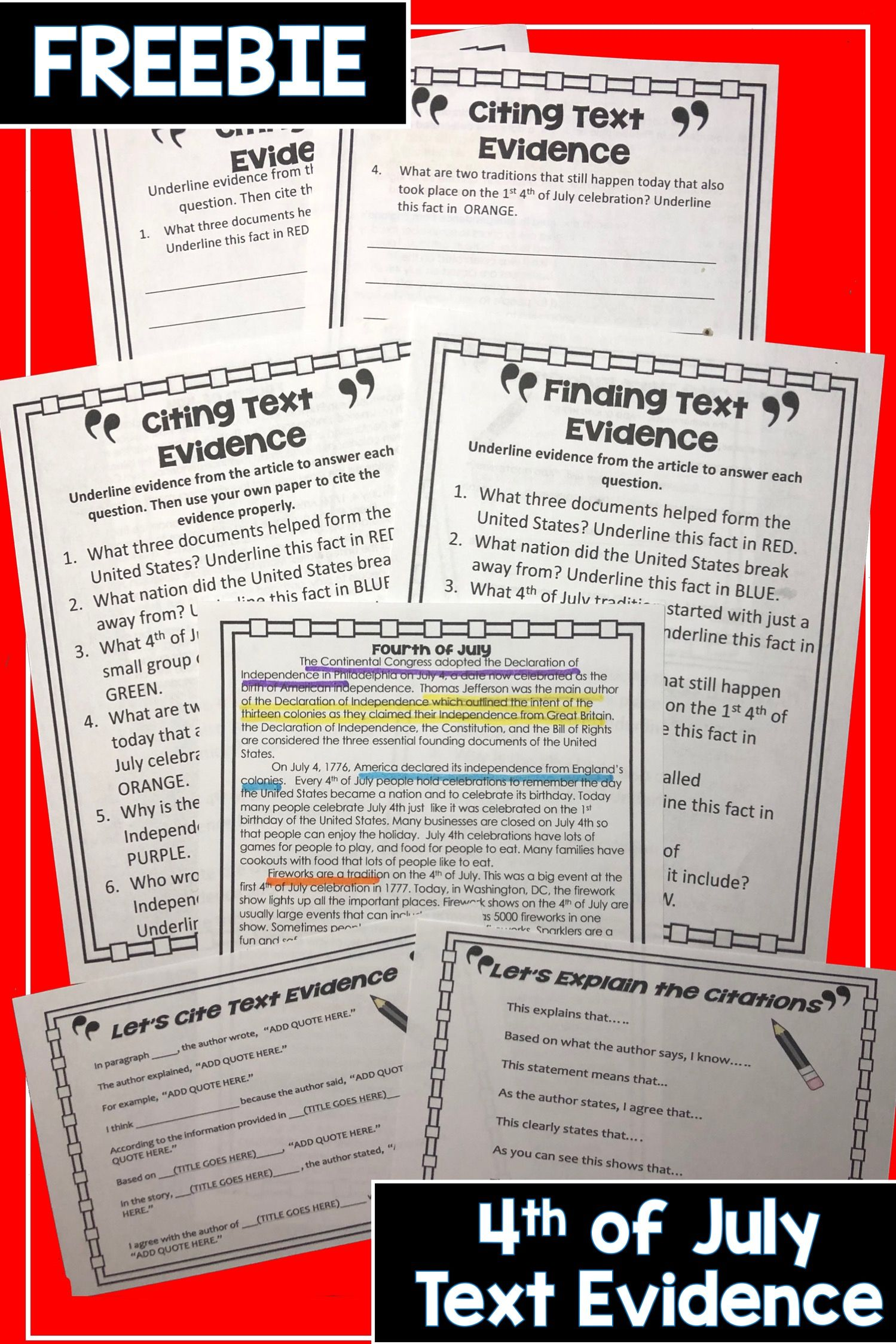 4th Of July Finding Text Evidence Freebie Citing Text Evidence Text Evidence Reading Passages [ 2249 x 1499 Pixel ]
