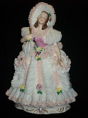 """Gorgeous Antique German Porcelain Dresden Lace Lady w Bonnet Figurine 7 3 4""""   eBay"""