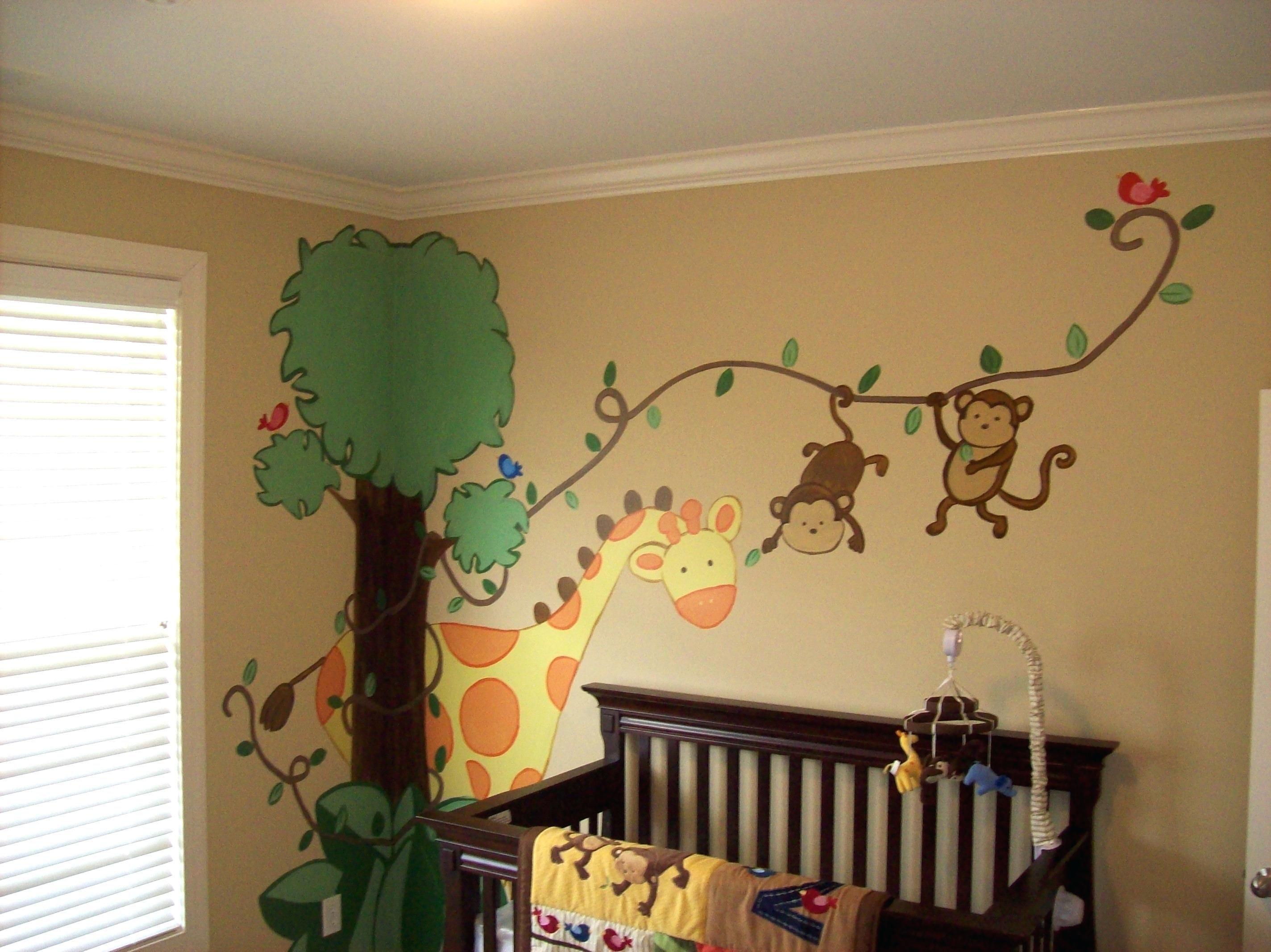 wandgestaltung kinderzimmer basteln Jungle theme nursery