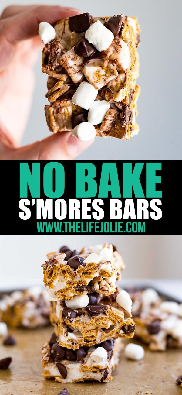 These No Bake Smores Bars are one of the best easy recipes to throw together for a last minute party or get together. Made with Golden Grahams, marshmallows and chocolate chips, these are a great no bake dessert option that both kids and adults will love this summer #dessertrecipes