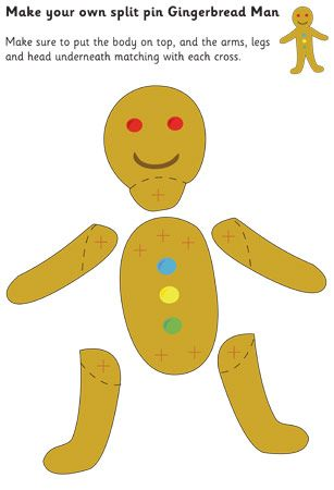 Gingerbread Man Split-Pin Character All Things Gingerbread - gingerbread man template