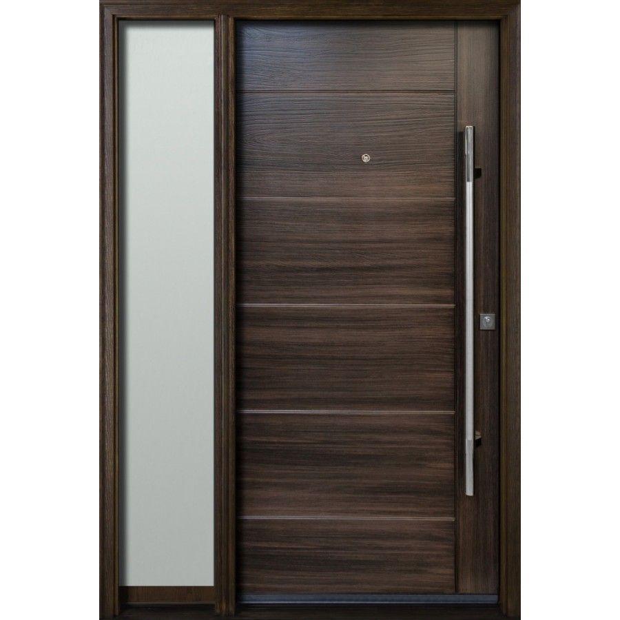 Teak Woodgrain Exterior Fibergl Door Single With One Full Gl Sidelight Model Fr20