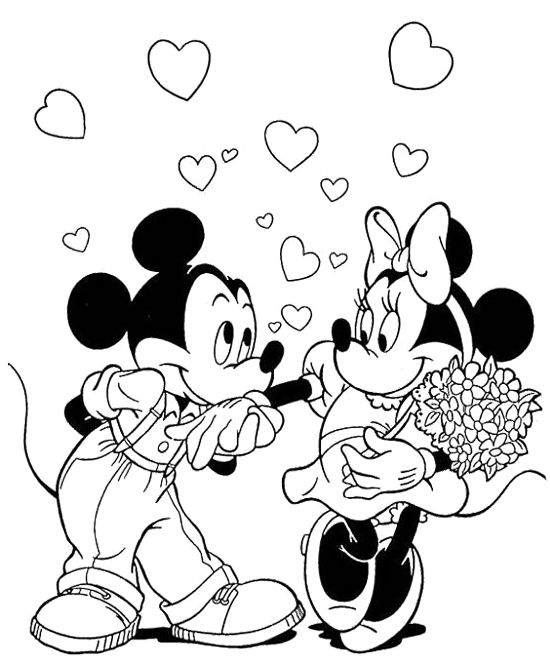 Mickey Love Minnie Coloring Page