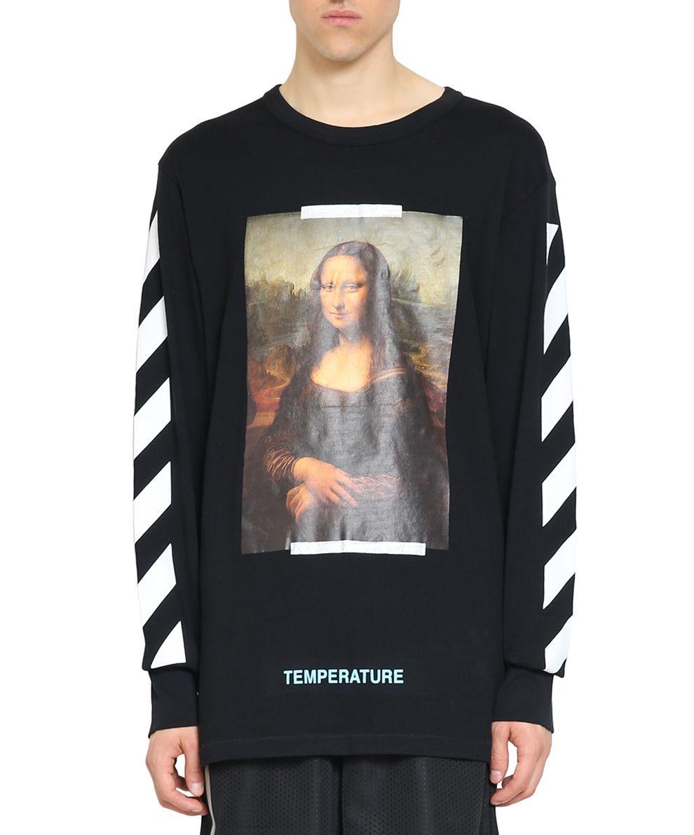 Off White Diagonal Monalisa Cotton T Shirt Off White Cloth Sweatshirts Cotton Sweatshirts Cotton Tshirt [ 1191 x 990 Pixel ]