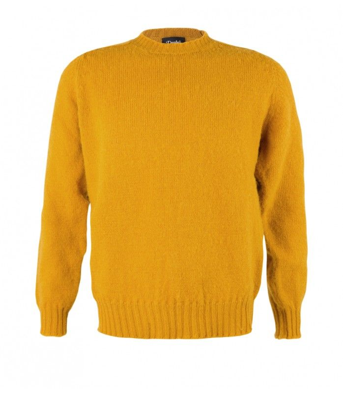 Mustard Yellow Brushed Shetland Wool Crew Neck Sweater | POST ...