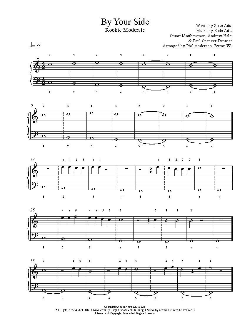 By your side by sade piano sheet music rookie level sheet by your side by sade piano sheet music rookie level hexwebz Images