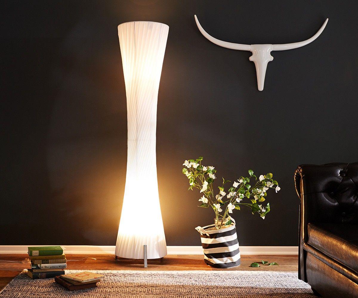 Stehlampe Helix Xl 160x35 Cm Weiss Art Deco Plissee Stehlampe