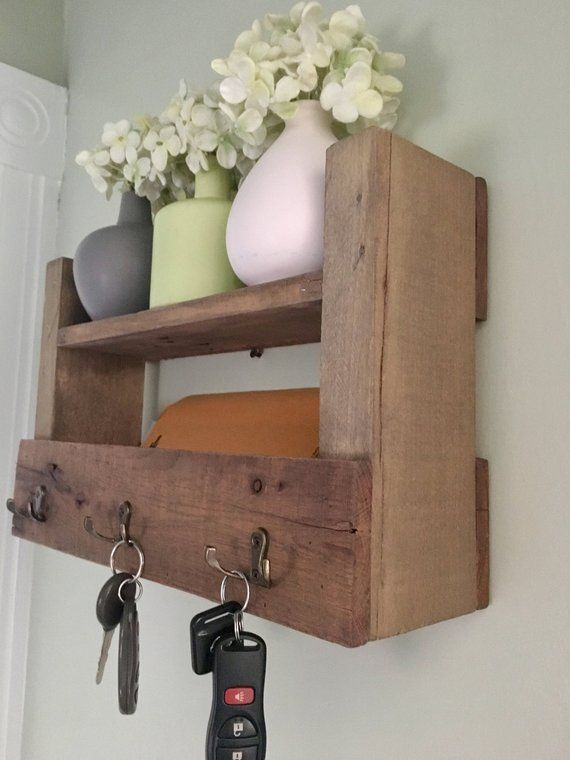 Reclaimed Wood Key Holder Mail Rustic Decor Farmhouse Hooks Housewarming Gift