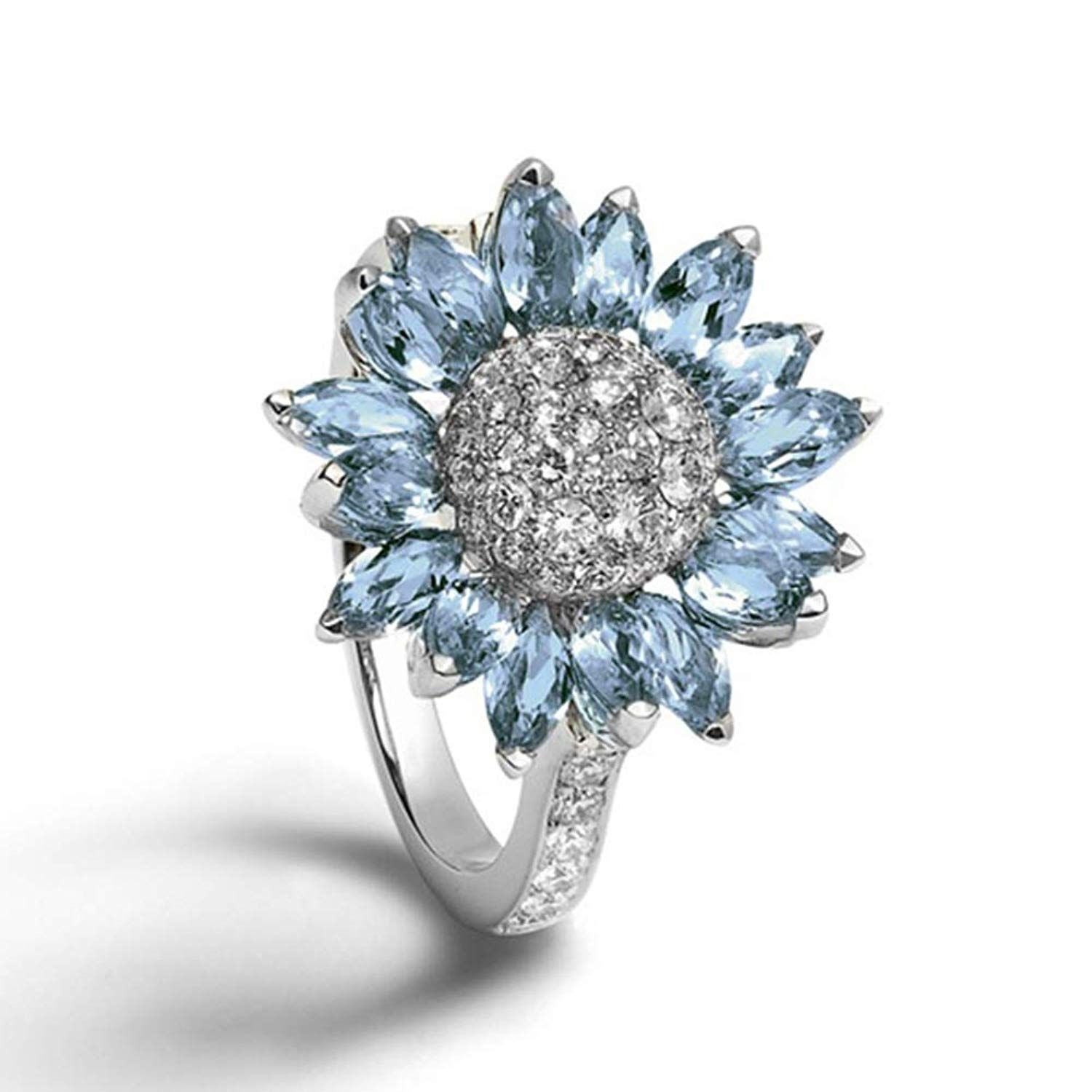 Gorgeous Blue Sapphire Ring Women Jewelry Wedding Engagement Gift Size 6 to 9