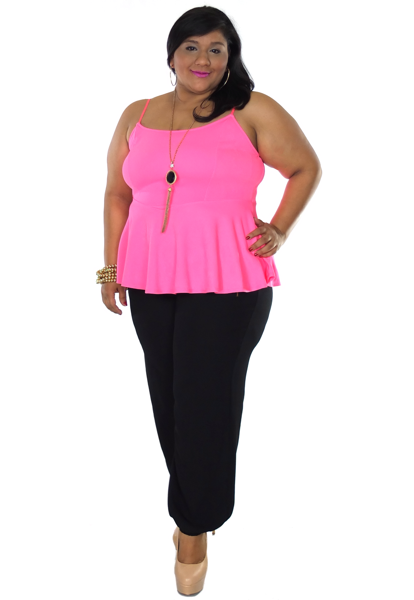 plus size lula top in fushia from elohai plus size boutique | plus