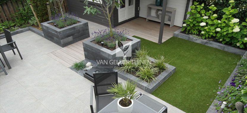 Moderne onderhoudsvrije tuin met kunstgras | Tuin idee | Pinterest ...
