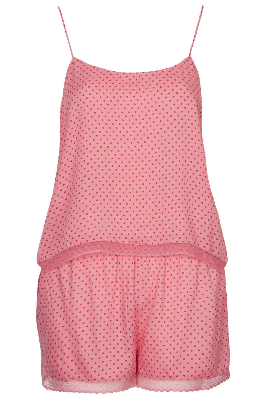 Pyjama aus Trägertop und Shorts mit feinen Punkten 36