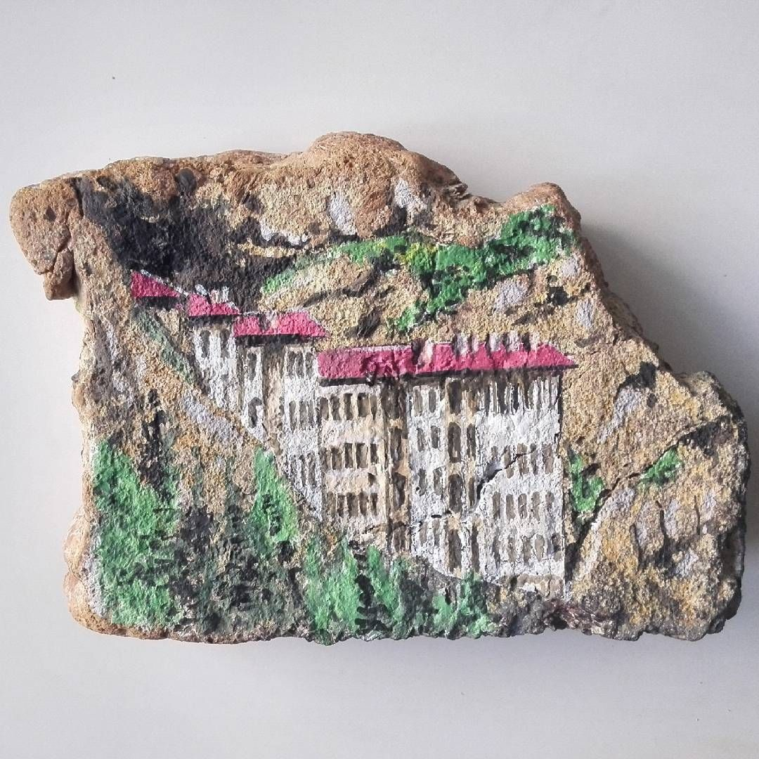 Sumela Manastiri Tas Boyama Art Drawing Illustration Turkey Sumela Monastery Trabzon Painted Rocks Driftwood Art Stone Painting