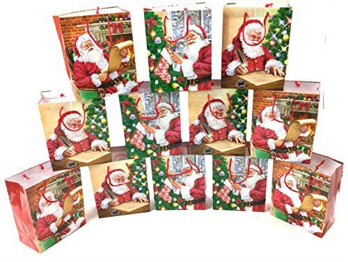 Style Design (TM) Dozen Gift Bags -Great for all your Christmas Gifts - Seasonal Christmas Design - Assorted Designs (Large, Santa Assorted)