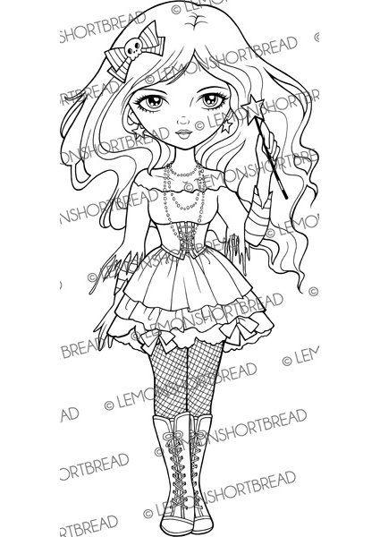 Digital Stamp Goth Fairy Witch Halloween Digi Download Star Wand Magic Scrapbooking Supplies Clip Art Graphic Desenhos Para Colorir Varinhas E Desenhos
