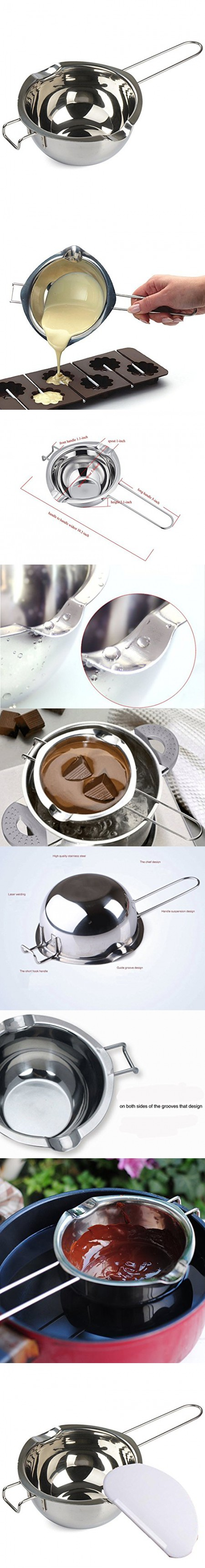 18/8 Stainless Universal Double Boiler,Melting Pot for Butter Chocolate Cheese Caramel+silicone spatula