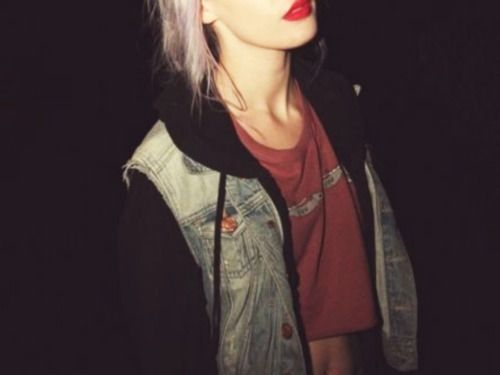 red lips and purple hair