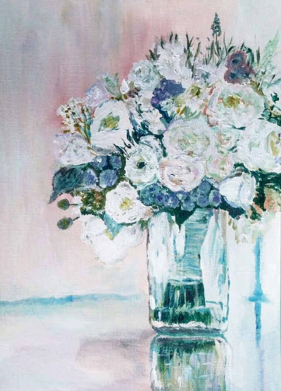 roses #whitewedding #bouquet #painting, #floral #weddingbouquet ...