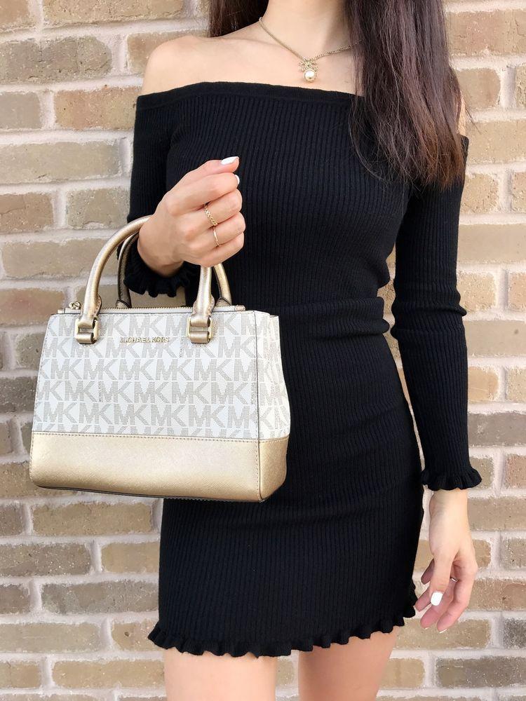 05bfd26f884e Michael Kors Kellen XS Satchel Vanilla MK Signature Gold Small Crossbody Bag  #MichaelKors #Satchel