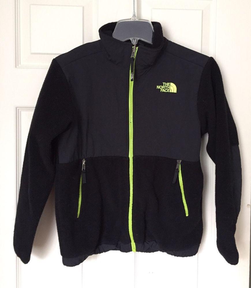 The North Face Denali Black Neon Green Zipper Fleece Jacket sz Boys M 10-12