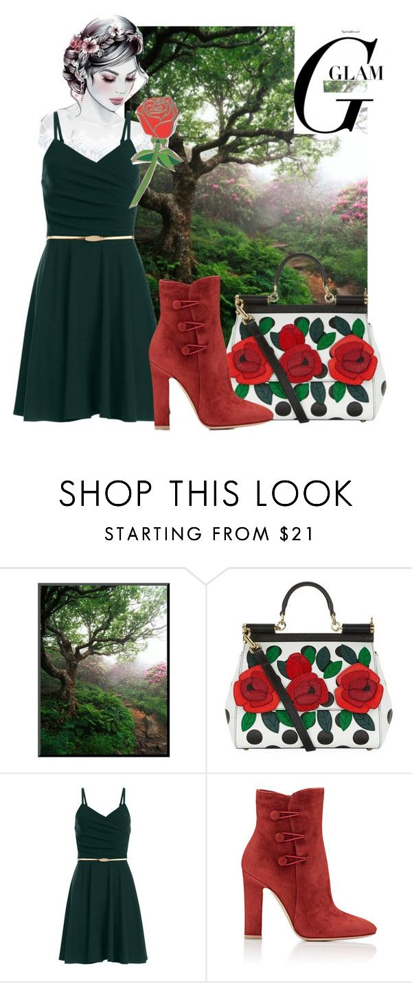 """""""garden rose"""" by tarparamu on Polyvore featuring Dolce&Gabbana, Gianvito Rossi and iDecoz"""