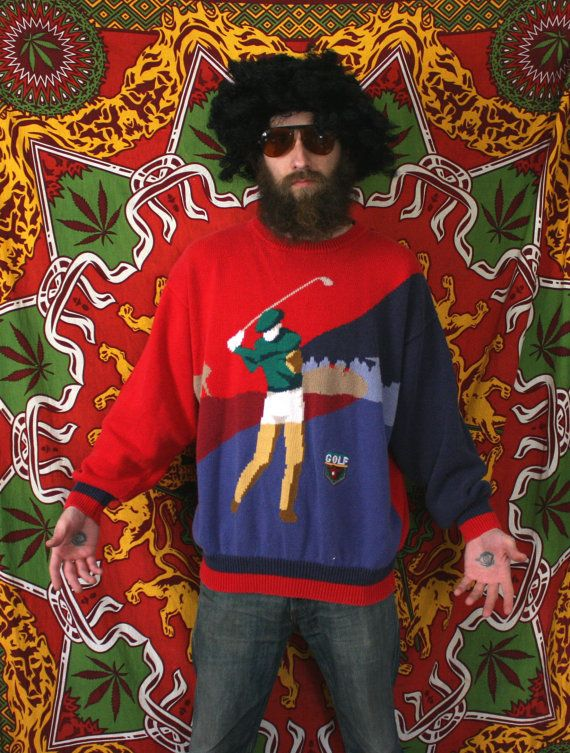 Vintage Golf Sweater. Oversized Baggy Red Par by ElevatedWeirdo