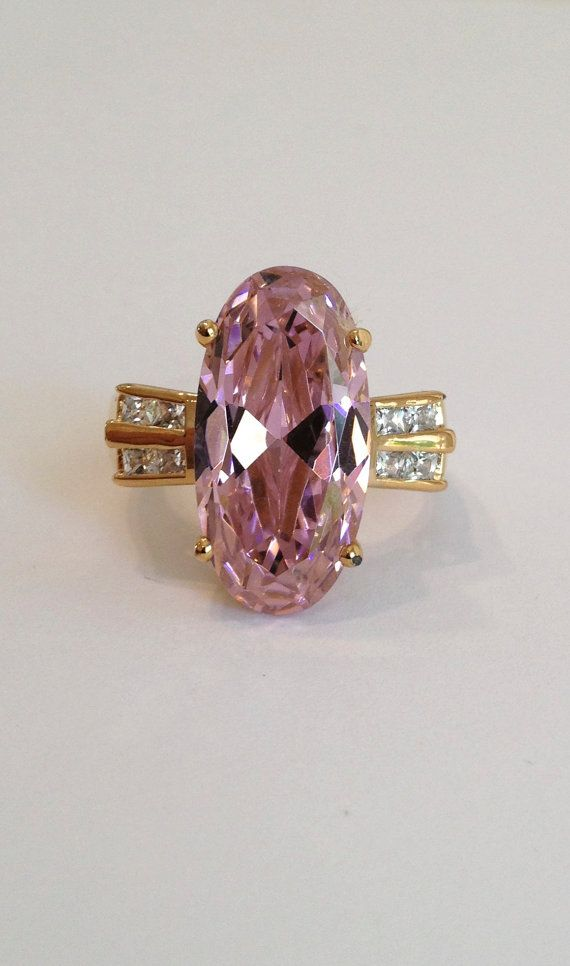 Vintage Gold Vermeil Pink Tourmaline Pink Sapphire Channel Set Estate Cocktail Ring Pink Stone Ring Large Stone Ring White Stone Estate Jewelry Rings Estate Jewelry Jewelry