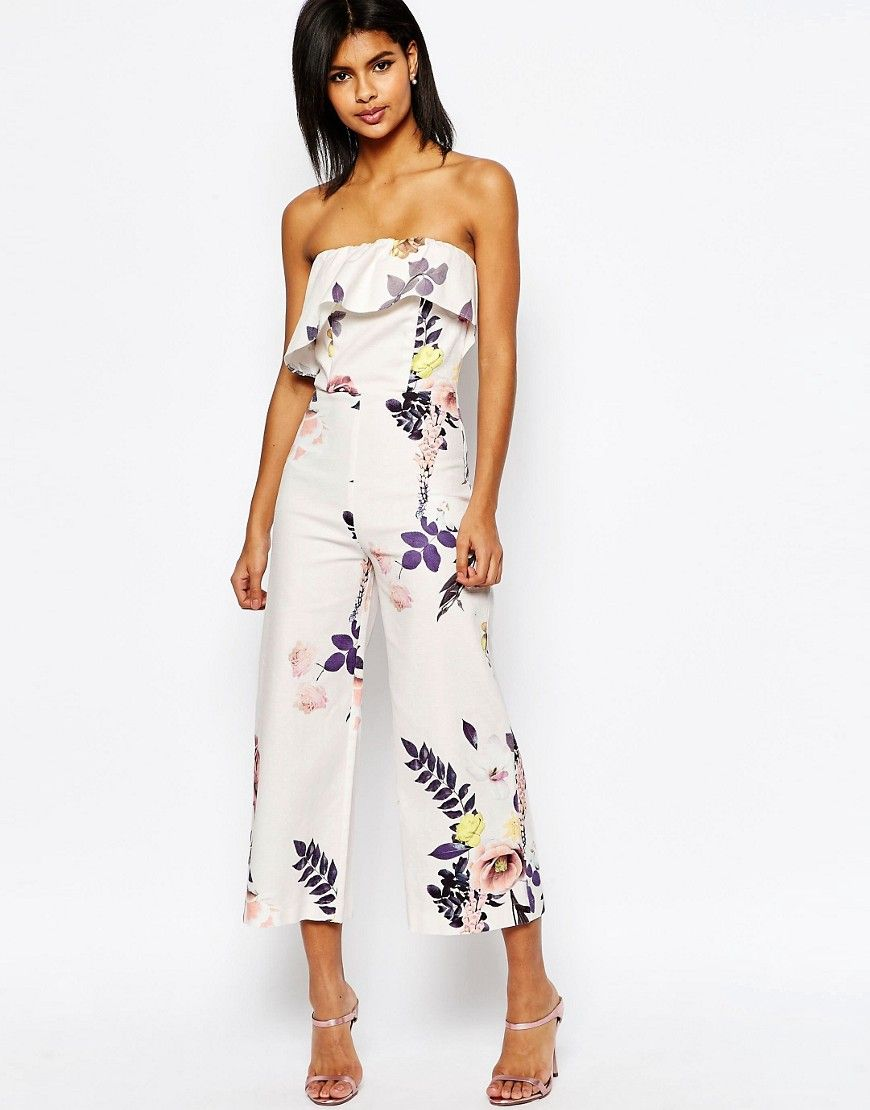 d563101938 Image 1 of ASOS Occasion Floral Jumspuit with Ruffle Detail