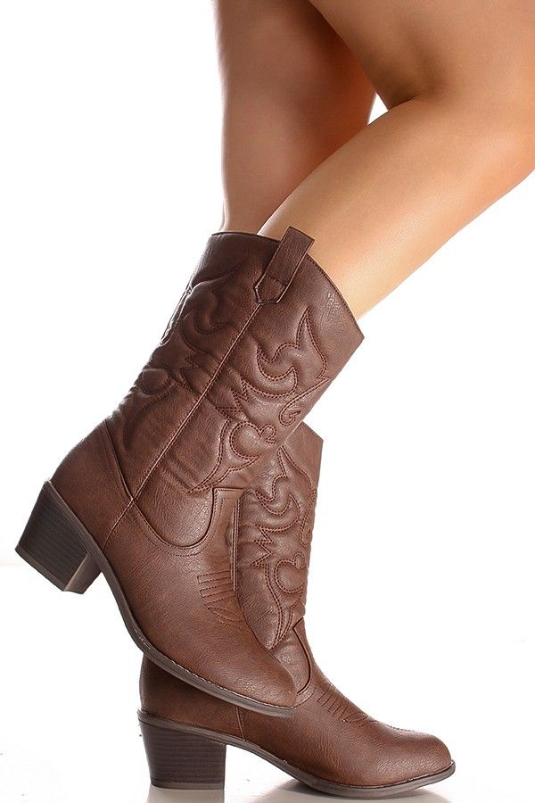 b46e2459888e BROWN FAUX LEATHER MATERIAL STITCHED DESIGN CASUAL KNEE HIGH COWBOY BOOTS